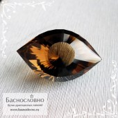 Тёмно-коричневый дымчатый кварц (раухтопаз) с Мадагаскара отличная огранка Глаз Клеопатры 18,99x11,7мм 10.62 карат (Драгоценный камень)