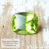Яблочно-зелёный Хризолит (перидот, оливин) из Китая отличная огранка в Баснословно антик кушон 12,04x10мм 5.58 карата (Драгоценный камень)