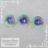 Гарнитур три мистик топаза (радужных) из Бразилии огранка вогнутыми гранями Миллениум круг 12,13 12,1 12,04мм 24.25 карата (Драгоценный камень)