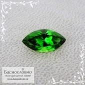 Ярко-зелёный хромтурмалин из Танзании отличной огранки Баснословно маркиз 10,82x5,59мм 1.36 карата (Драгоценный камень)
