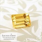 Золотистый топаз империал из Бразилии огранка октагон 7,49x5,28мм 1.69 карата (Драгоценный камень)