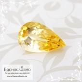 Золотистый топаз империал из Бразилии огранка груша 11,75x7,17мм 2.67 карата (Драгоценный камень)