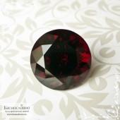 Тёмно-красный гранат пироп-альмандин из Мозамбика отличной огранки Баснословно круг 17,21мм 24.94 карат (Драгоценный камень)