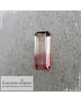 Натуральный сертифицированный полихромный оранжевато-жёлтый фиолетовый турмалин из Мозамбика огранки октагон 14,2×5,9мм 2,75 карата (Драгоценный камень)