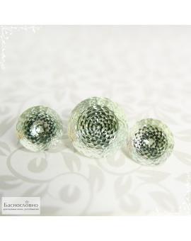 Гарнитур три натуральных пастельно-зелёных аметиста (празиолита) из Бразилии огранки круг фантазия 16,9мм и пара 12,9мм 31,48 карат (Драгоценный камень)