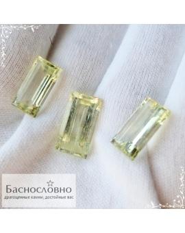 Гарнитур три натуральных благородных зелёных берилла из России отличной огранки Баснословно багет 18x9,5мм и пара 16x8мм 22,88 карата (Драгоценный камень)