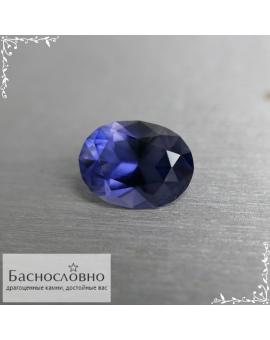 Натуральный синий иолит (кордиерит) из Мьянмы огранки Баснословно овал 9,82×7,48мм 2,06 карата (Драгоценный камень)