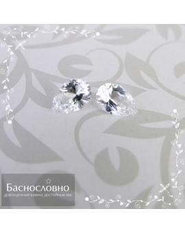 Пара натуральных бесцветных топазов из Бразилии огранки Баснословно бриллиантовая груша 6x4мм 0,77 карата (Драгоценный камень)