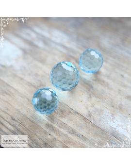 Гарнитур три натуральных небесно-голубых топаза (sky blue) из Нигерии огранки шар 12×11,62 10,44×10,05 10,04×9,67мм 34,83 карата (Драгоценный камень)