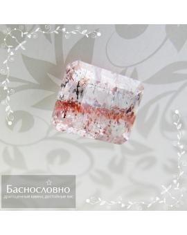 Натуральный горный хрусталь с лепидокрокитом и гематитом из Бразилии огранка октагон 13,98x11,17мм 7,68 карат (Драгоценный камень)