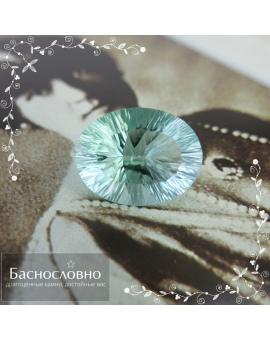 Натуральный голубовато-зелёный флюорит из США огранка вогнутые грани Миллениум 19,96x15,33мм 19,52 карат (Драгоценный камень)