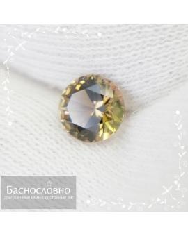 Натуральный тёмно-жёлтый турмалин из Нигерии огранки в Баснословно круг бриллиантовый Кр57 6,01x5,96мм 0,74 карат (Драгоценный камень)