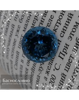 Натуральный синий топаз (оттенок London blue) из Бразилии огранки в Баснословно круг смешанный 13,08x13,06мм 11,58 карата (Драгоценный камень)
