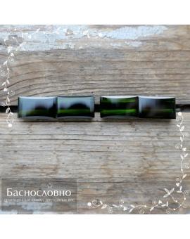Гарнитур из четырёх натуральных тёмно-зелёных турмалинов (верделит) из Бразилии огранка багет 14,19x8,11 14,02x8,19 13,96x8,07 13,94x8,17мм 21,74 карата (драгоценный камень)