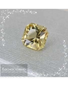 Натуральный лимонный цитрин из Бразилии огранки в Баснословно кушон 15,12x15,08мм 13,41 карат (Драгоценный камень)