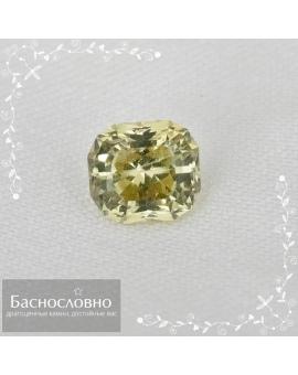 Натуральный сертифицированный зеленовато-жёлтый хризоберилл из Бразилии огранки радиант 6,38x5,73мм 1,44 карата (драгоценный камень)