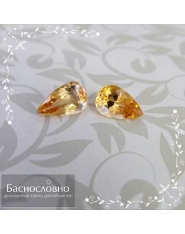Пара натуральных необлагороженных золотистых топазов империал из Бразилии огранка груша 8,52x5,29 8,26x5,36 2,04 карата (Драгоценный камень)