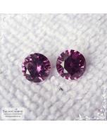 Пара тёмно-розовых родолитов из Танзании огранки Баснословно бриллиантовая кр57 круг 6,81 6,89мм 2,91 карата