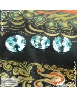 Гарнитур три бирюзовых циркона (старлита) из Камбоджи огранка Баснословно овал 9,07×6,04 8,86×7,04 8,9×6,97мм 6,73 карат