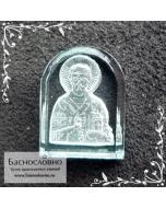 Резная Икона Святитель Николай Чудотворец на голубом топазе работы огранщиков Баснословно арка 16x12мм (Драгоценный камень)