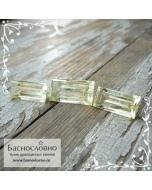 Гарнитур три благородных зелёных берилла из России огранки в Баснословно багет 18x9,5мм и пара 16x8мм 22,88 карата
