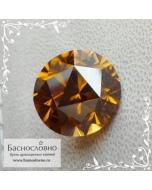 Оранжевато-золотистый циркон гиацинт из Танзании отличная огранка Баснословно Пион 12мм 11.68 карат (Драгоценный камень)