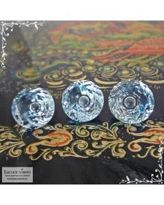 Гарнитур три светло-голубых топаза (оттенок Sky blue) из Нигерии огранки круг Пузырёк 12,29x12,17 12,09x12,03 12,04x11,94мм 24,75 карат