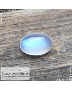 Натуральный лунный камень (адуляр) из Танзании с синей адуляресценцией огранка Баснословно кабошон 11,46x7,65мм 2,89 карат (Драгоценный камень)