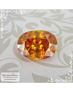 Сертифицированный натуральный огненно-жёлтый Сфалерит из Испании огранки овал 11,9x8,62мм 6,22 карат (драгоценный камень)