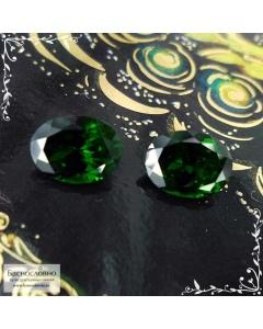 Пара сертифицированных тёмно-зелёных гранатов цаворитов (тсаворитов) из Кении огранки овал 8,03x6,09 8,03x6,06мм 2,91 карата