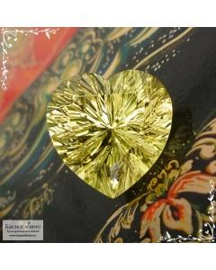 Натуральный лимонно-жёлтый цитрин из Замбии отличной огранки Баснословно фантазийное сердце 16,03x16,01 12,17 карат (Драгоценный камень)