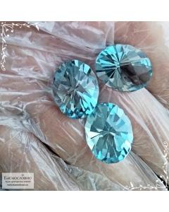 Гарнитур три натуральных небесно-голубых топаза (оттенок Sky blue) из Бразилии огранка Шахматный овал 18,84x14,76 18,72x14,74 18,65x14,74мм 58,58 карат (Драгоценный камень)