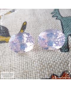 Пара натуральных лавандовых аметистов из Бразилии отличной огранки Баснословно овал 13,98x11,03 13,99x10,89 14,4 карат (Драгоценный камень)
