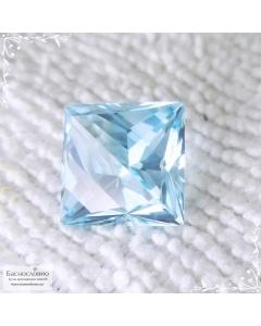 Натуральный небесно-голубой топаз (оттенок Sky blue) из Нигерии отличная огранка в Баснословно принцесса-фантазия 11,1x10,97мм 8,98 карат (Драгоценный камень)