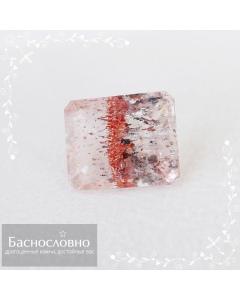 Натуральный горный хрусталь с лепидокрокитом и гематитом из Бразилии огранка октагон 14,72x12,14мм 10,37 карат (Драгоценный камень)