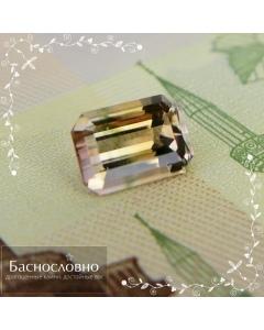 Натуральный полихромный турмалин из Нигерии огранки в Баснословно октагон 6,93x4,99мм 1,03 карата (Драгоценный камень)