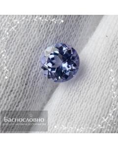 Натуральный сине-фиолетовый танзанит из Танзании огранка круг 5,91x5,87мм 1,05 карат (Драгоценный камень)
