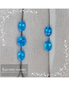 Гарнитур натуральных ярко-синих апатитов из Бразилии (Баия) огранки овал 5,92x4,99 6,09x4,10 6,06x4,18 5,96x3,88 5,93x3,97мм 2,67 карат (Драгоценный камень)