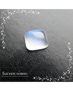 Натуральный лунный камень адуляр из Танзании с синей адуляресценцией огранки Баснословно кабошон прямоугольник 9,61x8,45мм 3,56 карата (драгоценный камень)