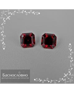 Пара натуральных насыщенно-красных гранатов (альмандинов) из Мозамбика огранки в Баснословно квадрат-октагон 6,52x6,51 6,49x6,45мм 3,32 карат (драгоценные камни)