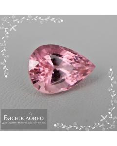 Сертифицированный натуральный розовый турмалин из Нигерии огранки груша 12,21x8,63мм 4,08 карата (драгоценный камень)
