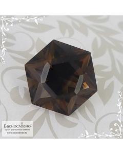 Натуральный тёмно-коричневый раухтопаз (дымчатый кварц, раух топаз) из Бразилия огранка Баснословно Звезда Давида (Щит, Маген Давид) 16мм 12,16 карат (Драгоценный камень)