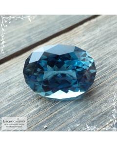 Натуральный синий топаз (оттенок london blue) из Бразилии отличная огранка в Баснословно овал 19x14,03мм 17.56 карата (Драгоценный камень)