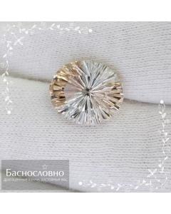 Натуральный полихромный бесцветно-винный топаз из Украины огранка в Баснословно фантазийный овал 13,10x11,09мм 7,17 карат (Драгоценный камень)
