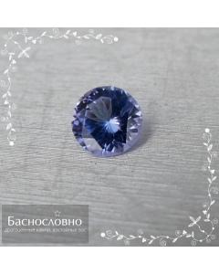 Натуральный фиолетовато-синий танзанит из Танзании переогранки в Баснословно смешанный круг 6,65x6,57мм 1,04 карат (драгоценный камень)