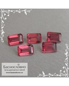 Гарнитур пять красных турмалинов (рубеллитов) из Мозамбика хорошая огранка октагон 6x4мм 3.56 карата (Драгоценный камень)
