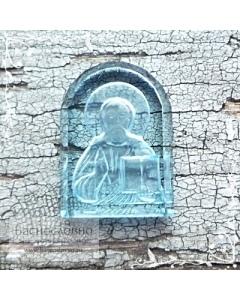 Резная Икона Иисус Христос Спаситель на голубом топазе работы огранщиков Баснословно арка 14x10мм (Драгоценный камень)