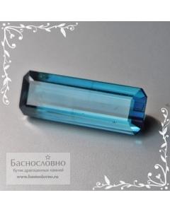 Сертифицированный синий турмалин (индиголит, индиколит) из Афганистана огранка октагон 16x5,5мм 4,12 карата