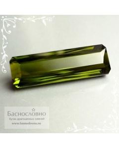Сертифицированный натуральный насыщенно-зелёный турмалин (верделит) из Мозамбика ручной хорошей огранки октагон 21x7мм 8.35 карата (драгоценные камни)