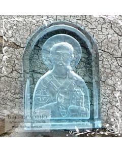 Резная Икона Святитель Николай Чудотворец на натуральном небесно-голубом топазе работы в Баснословно арка 14x10мм 5.1 карат (Драгоценный камень)